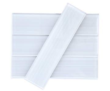 Clear White Bamboo Subway Glass Tile